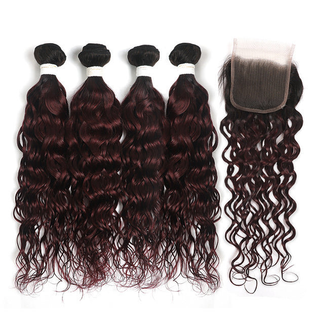 Water Wave Ombre Maroon Red 4 Hair Bundles with One Free/Middle Part Lace 4×4 Closure(T1B/99J)