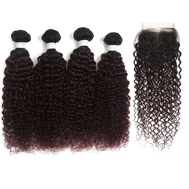 kinky curly Ombre Maroon Red 4 Hair Bundles with One Free/Middle Part Lace 4×4 Closure(T1B/99J) (4340083720262)