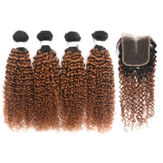 Ombre Ginger Brown Kinky Curly 4 Hair Bundles with 4×4 Lace Closure(T1B/30) (4375234281542)