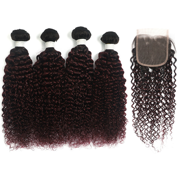 kinky curly Ombre Maroon Red 4 Hair Bundles with One Free/Middle Part Lace 4×4 Closure(T1B/99J)