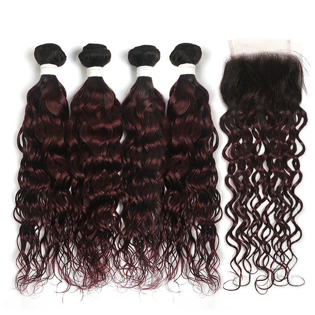 Water Wave Ombre Maroon Red 4 Hair Bundles with One Free/Middle Part Lace 4×4 Closure(T1B/99J) (4339245056070)