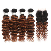 Ombre Ginger Brown Deep Wave 4 Hair Bundles with 4×4 Lace Closure(T1B/30) (4374973775942)
