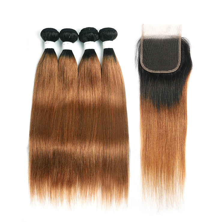 Ombre 30 Straight 4 Human Hair Bundles with One 4×4 Free/Middle Lace Closure (4251450015814)