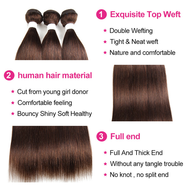 Straight Colored Human Hair Four Bundles Weave with One Free/Middle Part 4×13 Lace Frontal (30)