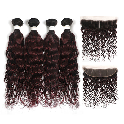 Water Wave Ombre Maroon Red 4 Hair Bundles with One Free/Middle Part Lace 4×13 Frontal(T1B/99J) (4339250397254)