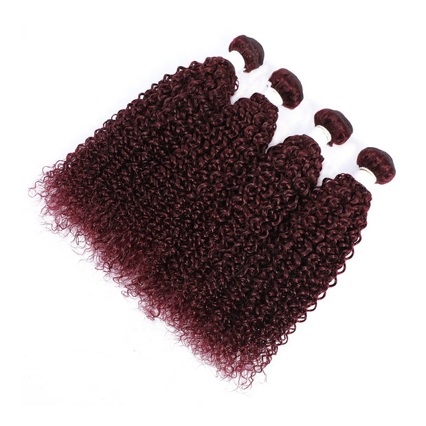 4 Human Hair Bundles Maroon Red Kinky Curly (99J)