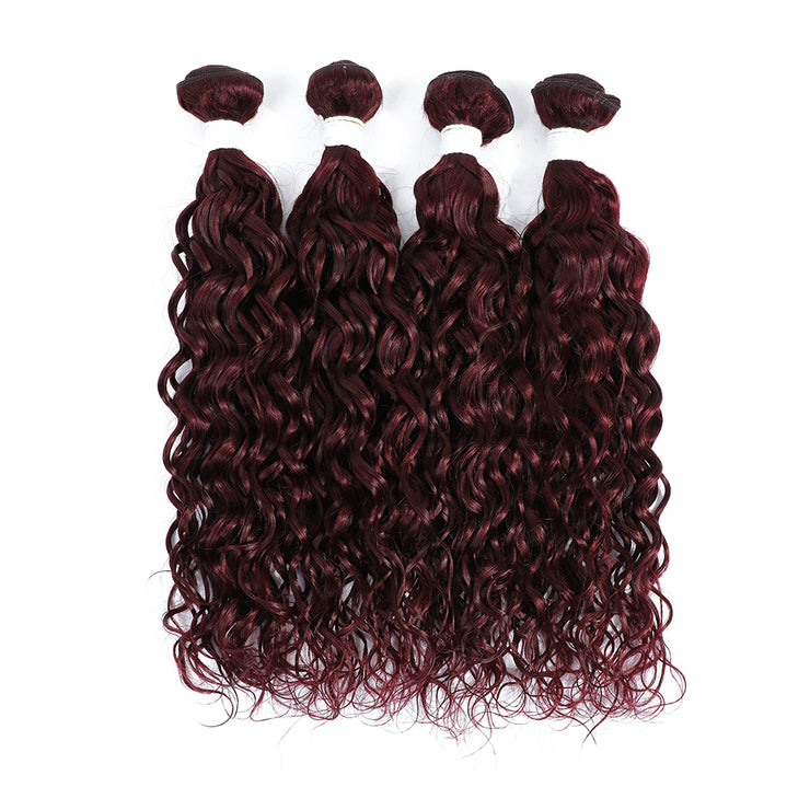 4 Human Hair Bundles Maroon Red Water Wave (99J)