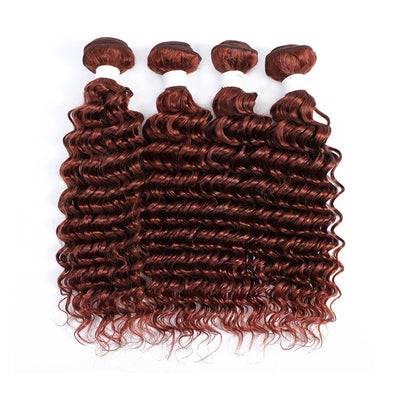 4 Human Hair Bundles Auburn Red Deep Wave (33#)