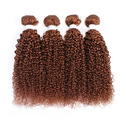 4 Human Hair Bundles Light Brown Kinky Curly (30#)