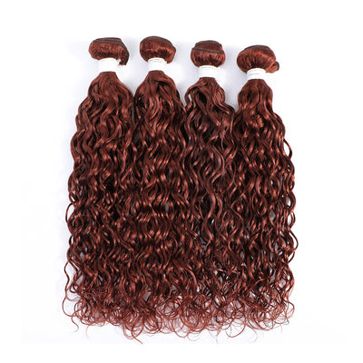 4 Human Hair Bundles Auburn Red Water Wave (33#)