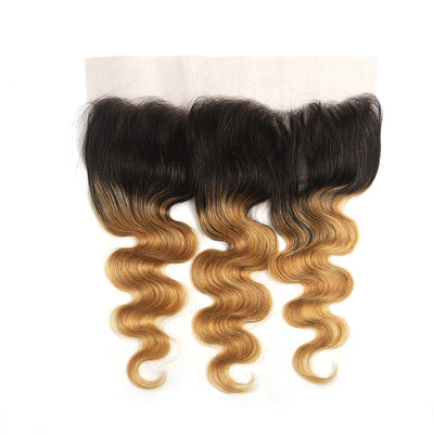 Ombre 27 Body Wave Human Hair 4×13 Free/Middle Part Lace Frontal(8''-20'') (4448525811782)