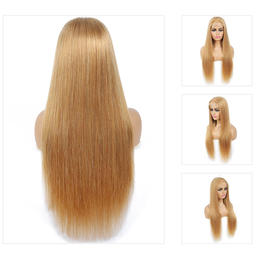 Kemy Hair Honey Blonde Straight 4X4 Lace Closure wigs (18''-28'')(27#)