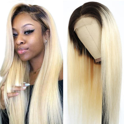 Kemy Hair Custom Ombre 613 Blond Straight Human Hair 4X4 Lace closure wigs 10''-28'' - Kemy Hair
