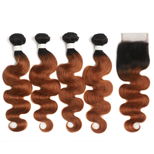 Ombre 30 Body Wave 4 Human Hair Bundles with One 4×4 Free/Middle Lace Closure (4251434942534)