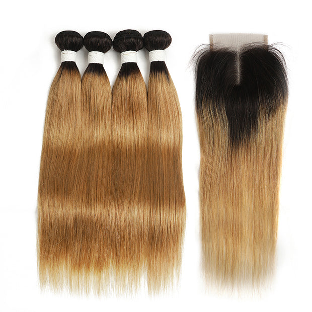 Ombre 27 Straight 4 Human Hair Bundles with One 4×4 Free/Middle Lace Closure