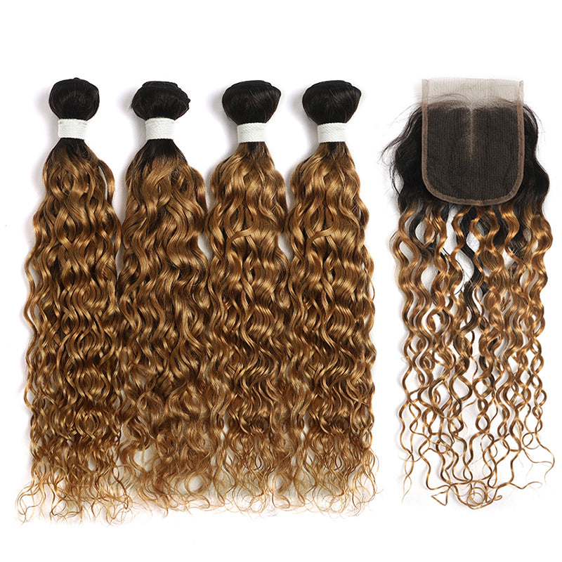 Water Wave Ombre Honey Blonde 4 Bundles with one Free/Middle Part Lace Closure (4330241654854)