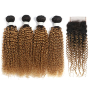 Kinky Curly Ombre Honey Blonde 4 Bundles with one Free/Middle Part Lace Closure (4330081583174)