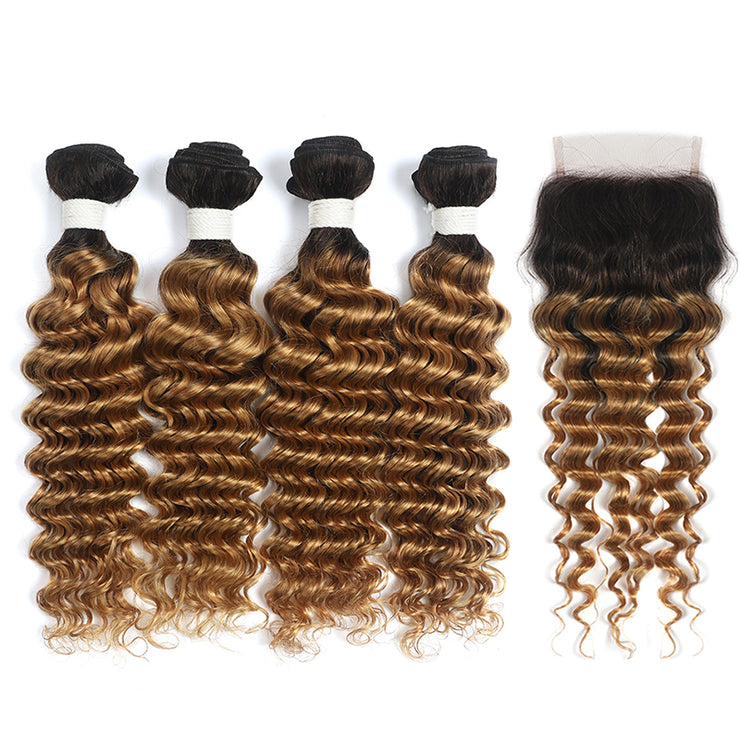Deep Wave Ombre Honey Blonde 4 Bundles with one Free/Middle Part Lace Closure (4330052714566)
