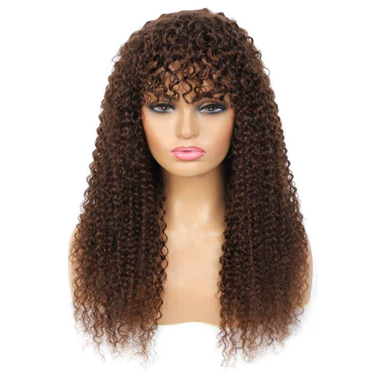 Medium Brown Kinky Curly Human Hair Wigs with Bang(16''-28'')(4#)
