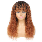 Ombre Brown Kinky Curly Two tone Human Hair Wigs with Bang(16''-28'')(T1B/30)