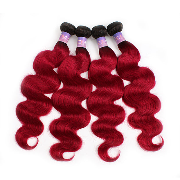 Ombre BURG Body Wave Four Human Hair Bundles 8''-26''