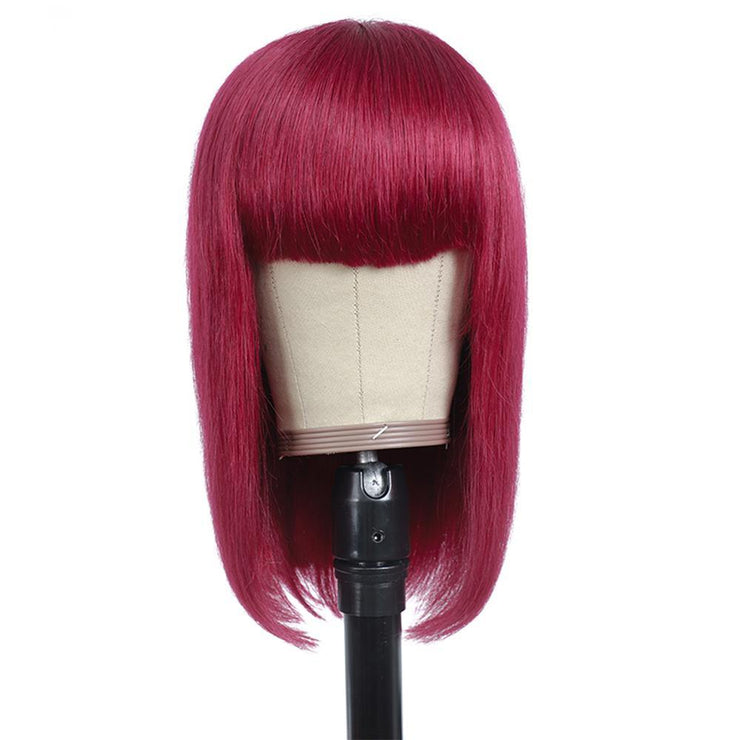 Burgundy Red Straight Human Hair Wigs with Bang 8''-16''(BURG)