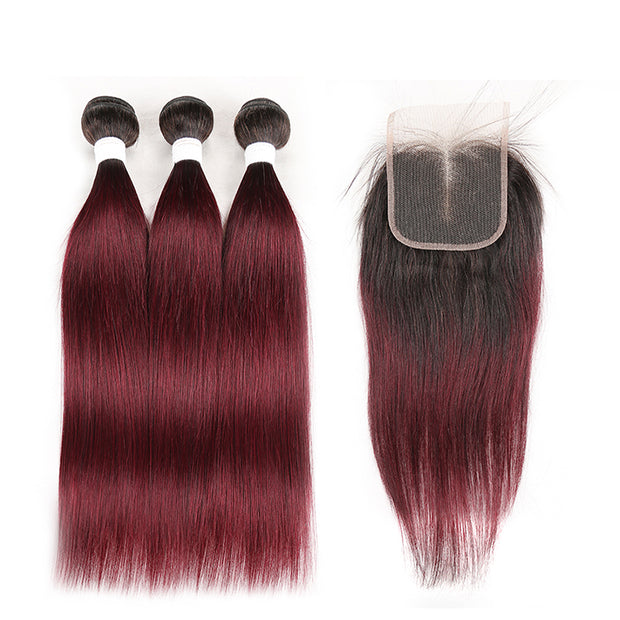 Ombre 99J Straight 3 Human Hair Bundles with One 4×4 Free/Middle Lace Closure (3948221628486)