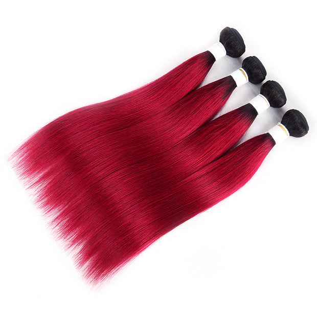 Straight Ombre BURG Four Human Hair Bundles 8''-26''