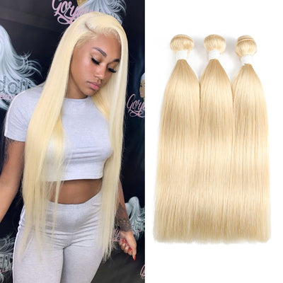Straight 613 Blond Remy 3 Human Hair Bundles 8''-26''