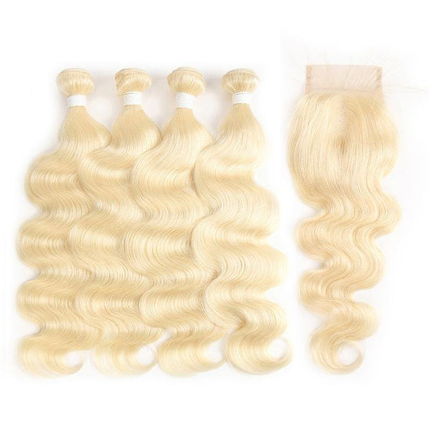 613 Blond Body Wave Remy 4 Human Hair Bundles with One 4×4 Free/Middle Lace Closure (3578153500772)
