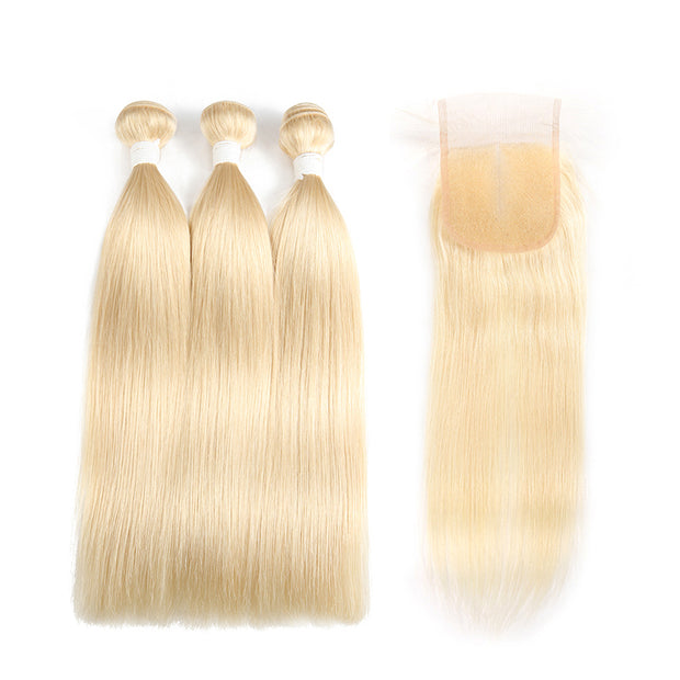 Straight 613 Blond Remy 3 Human Hair Bundles with One 4×4 Free/Middle Lace Closure (3576499175524)