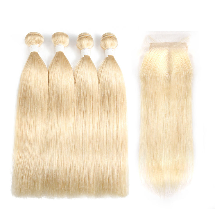Straight 613 Blond Remy 4 Human Hair Bundles with One 4×4 Free/Middle Lace Closure (3578048872548)