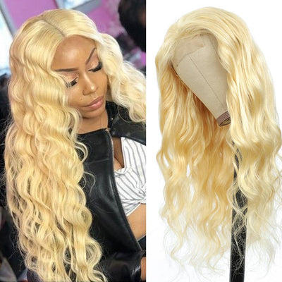 Kemy Hair Custom 613 Blond Body Wave Human Hair 4x4 Lace Closure wigs 16''-28'' - Kemy Hair