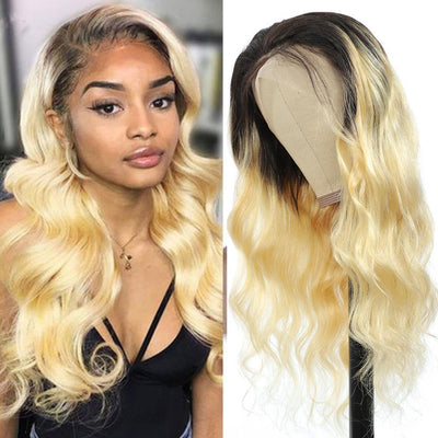 Kemy Hair Custom ombre 613 Body wave Human Hair 13X4 Lace Front wigs 16''-28'' - Kemy Hair