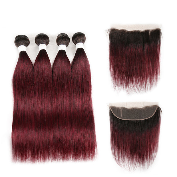 Ombre 99J Straight 4 Human Hair Bundles with One 4×13 Free/Middle Lace Frontal