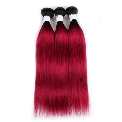 Straight Ombre BURG Three Human Hair Bundles 8''-26'' (3578724679780)