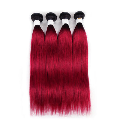 Straight Ombre BURG Four Human Hair Bundles 8''-26'' (3578739458148)