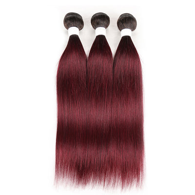 Straight Ombre 99J Three Human Hair Bundles 8''-26''
