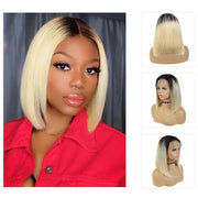 Kemy Hair Custom ombre 613 Blond Bob Human Hair Lace Front wigs 10''-16''
