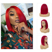 Kemy Hair Burgundy Red Bob Human Hair Lace Front wigs 8''-16'' (BURG)