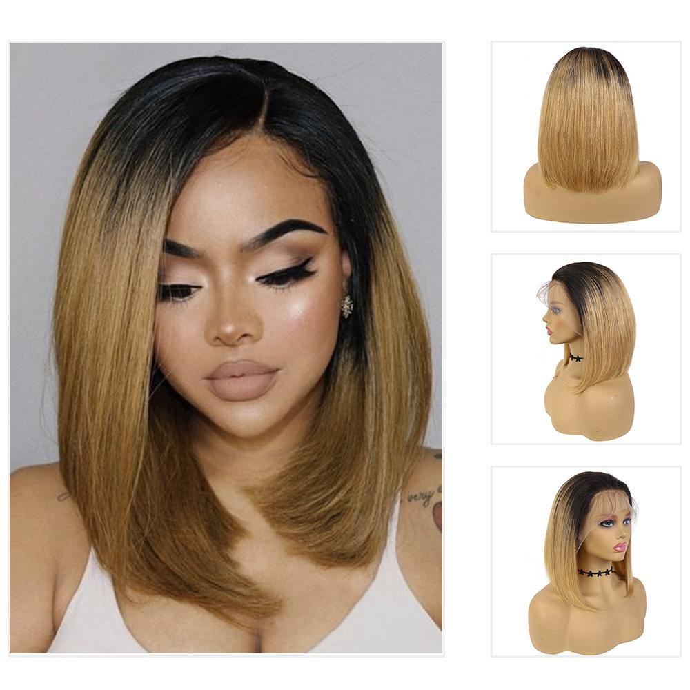 Kemy Hair Custom ombre 27 Bob Human Hair 4X4 Lace Front wigs 10''-16''