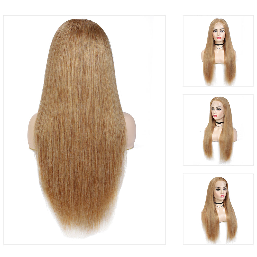 Kemy Hair Custom Straight Honey Blonde 13X4 Lace Frontal wigs 24''-28'' ( 27 )