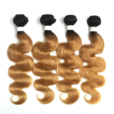 Ombre 27 Body Wave Four Human Hair Bundles 8''-26'' (4249217204294)