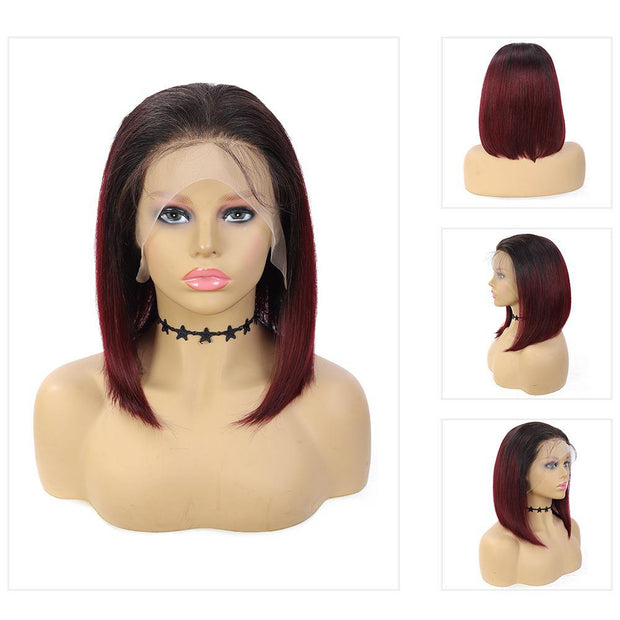 Kemy Hair Custom ombre 99J Bob Human Hair Lace Front wigs 10''-16'' (4458436132934)