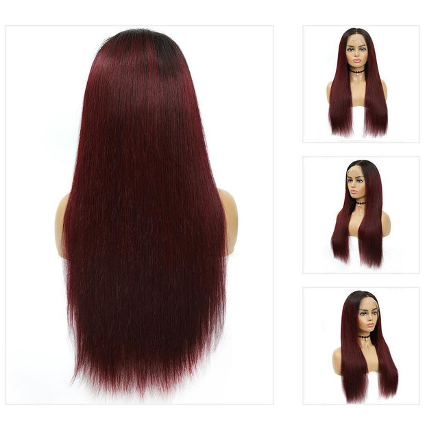 Kemy Hair Custom ombre 99J Human Hair Lace Front wigs 8''-26'' (4453538758726)