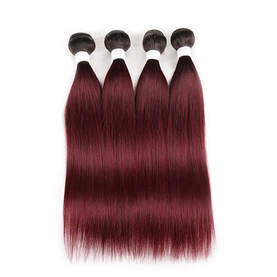 Straight Ombre 99J Four Human Hair Bundles 8''-26'' (3948218581062)