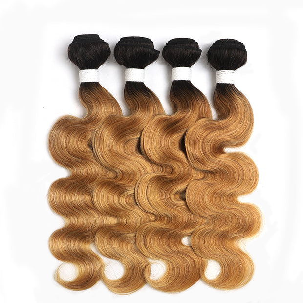 Ombre 27 Body Wave Four Human Hair Bundles 8''-26''