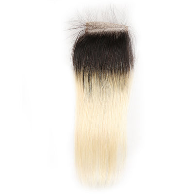 Straight Ombre Blond Remy Human Hair 4×4 Free/Middle Part Lace Closure 8''-20'' (1B/613) (3947314053190)