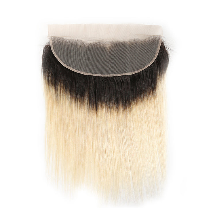 Straight Ombre Blond Remy Human Hair 4×13 Free/Middle Part Lace Frontal 8''-20'' (1B/613) (3947319296070)