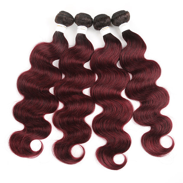 Ombre 99J Body Wave Four Human Hair Bundles 8''-26''